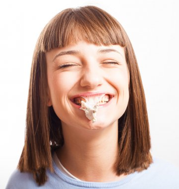 Girl with exploted chewing gum