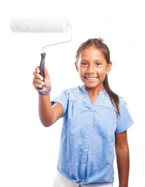 Girl holding a paint roller