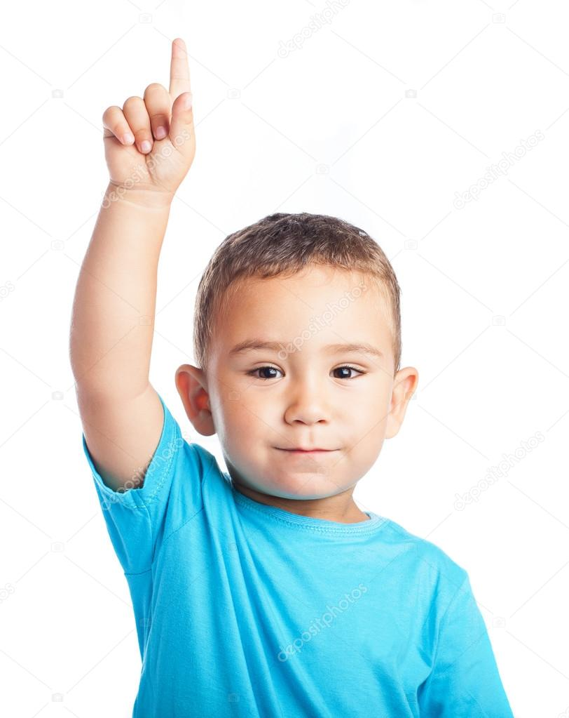 Child pointing up with the finger — Stock Photo ... Cute Baby Pointing Finger