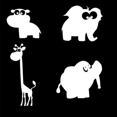 Funny Cartoon Animals Silhouettes