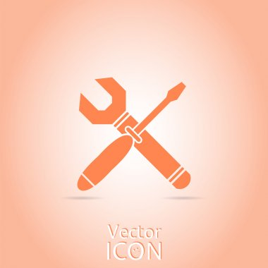 Vector Wrench and Screwdriver Icon.