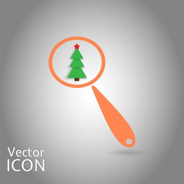 Magnifying Glass with a Christmas Tree. Search Tree