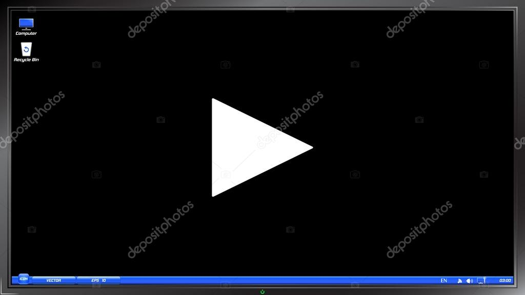 Play Button. Media player on the screen monitor