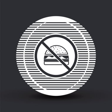 Log forbidden food. Prohibitory sign. Hamburger icon. Sandwich icon. Flat design style.