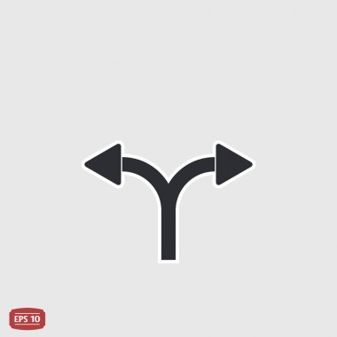 Two arrows. Left or right direction. Flat design style.