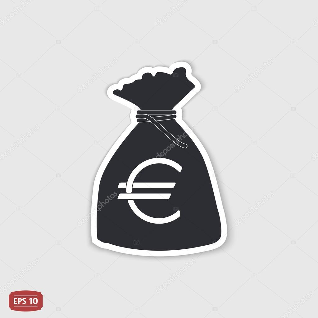 Euro Currency Symbol Money Bag Icon Flat Design Style Stock