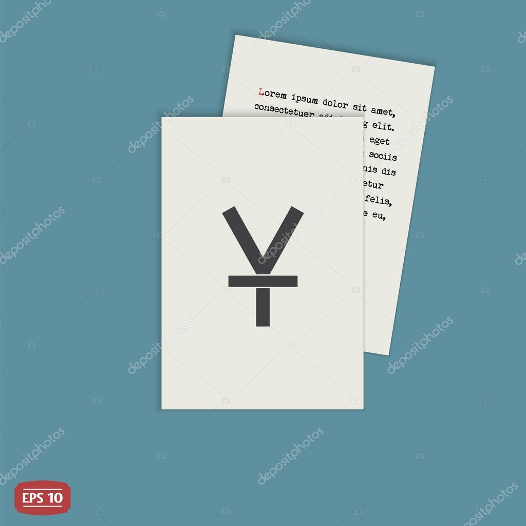 Yen Currency Symbol Chinese Currency Flat Design Style Stock