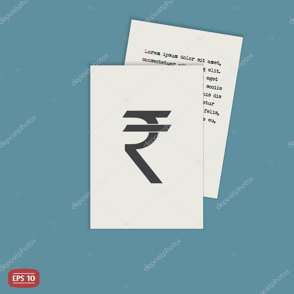 Indian Rupee Currency Symbol Flat Design Style Stock Vector