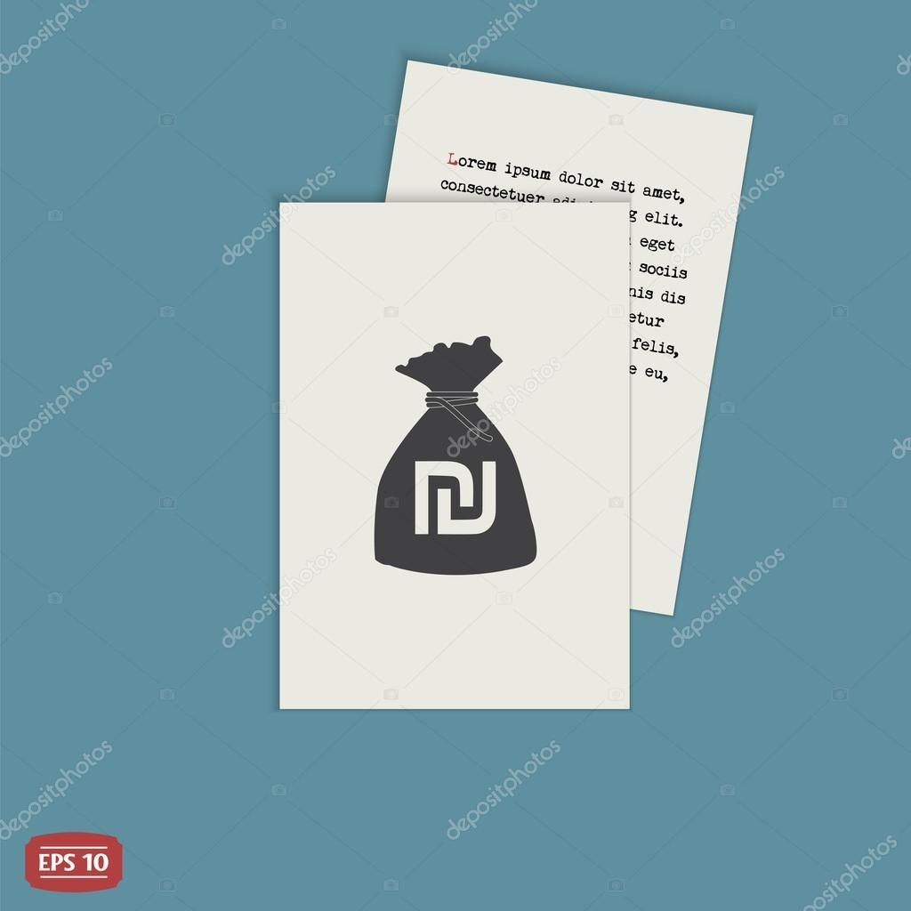 Israeli Shekel Currency Symbol Money Bag Icon Flat Design Style