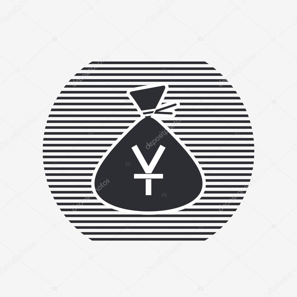 Yen Currency Symbol Chinese Currency Money Bag Icon Flat Design