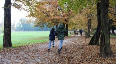 Running in the park in autumn