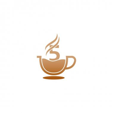 Coffee cup icon design number 5 logo concept icon
