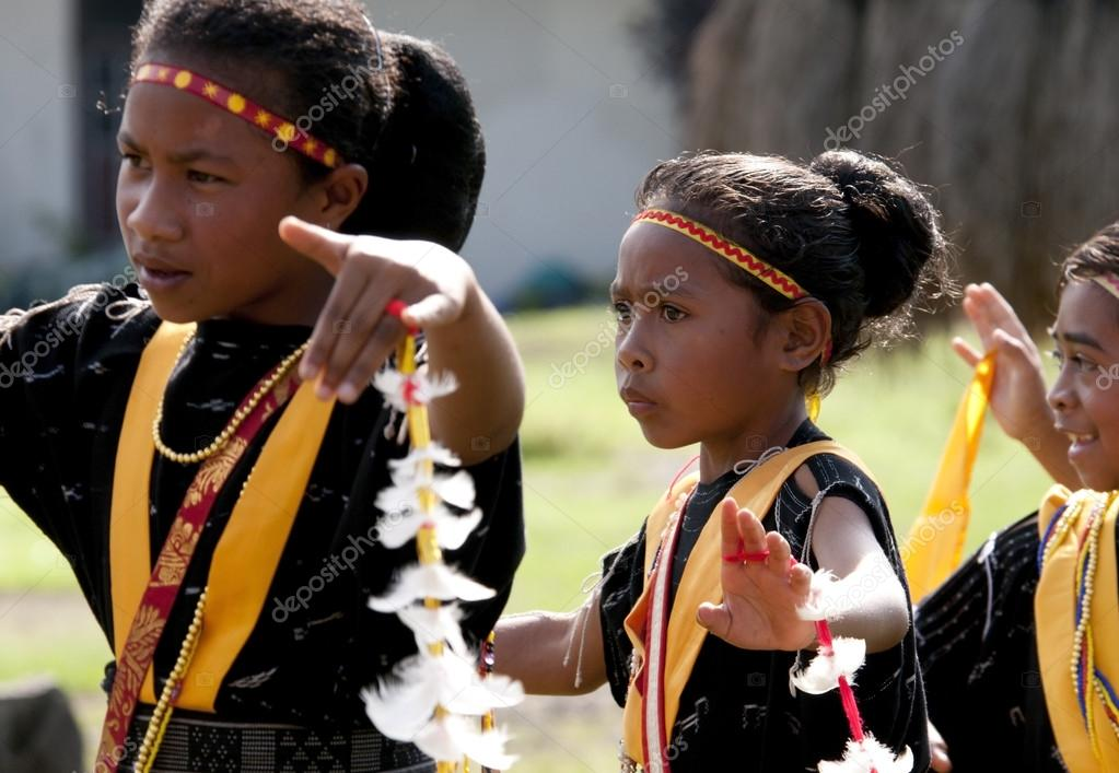 warriors dancing  in traditional clothes Flores Indonesia
