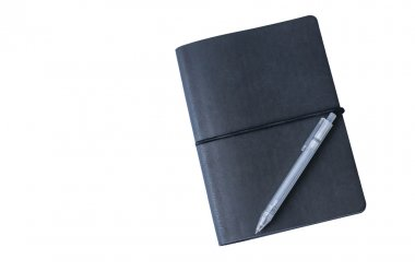 Black notebook and pen