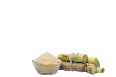 Brown Sugar in bowl and stump of sugar cane