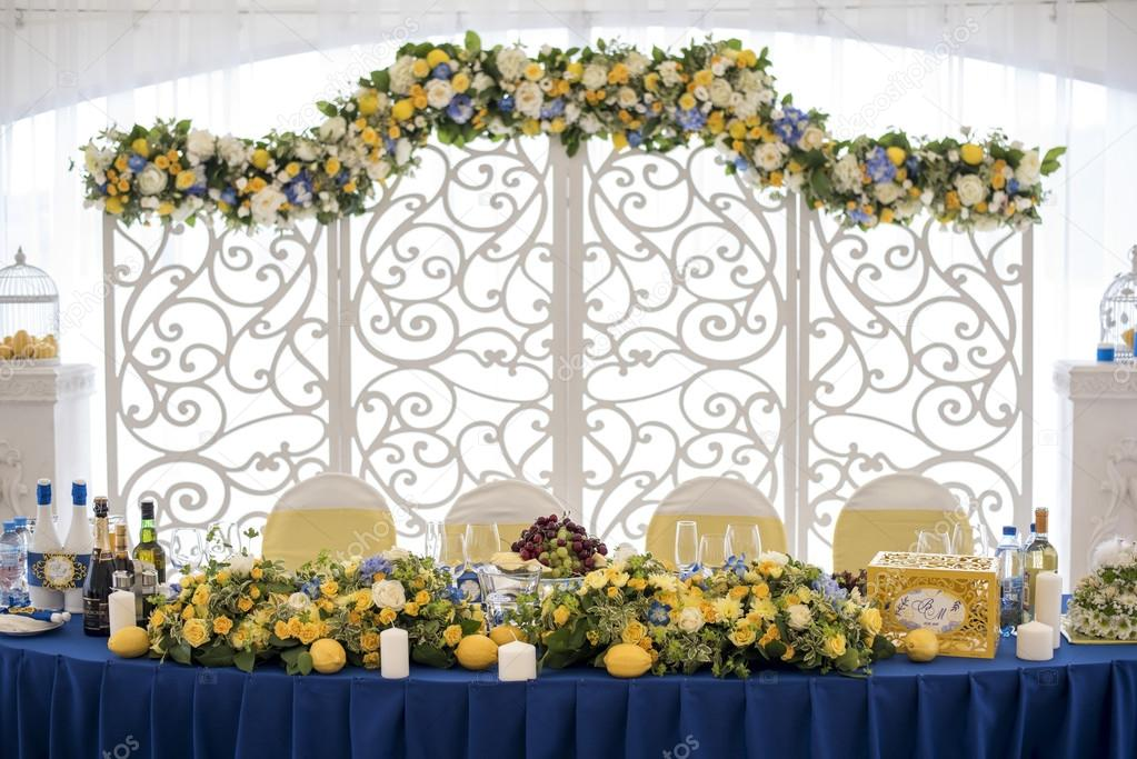 Wedding decor blue yellow fotografias de stock sergmam 124493708 wedding decor blue yellow fotografia de stock junglespirit Choice Image