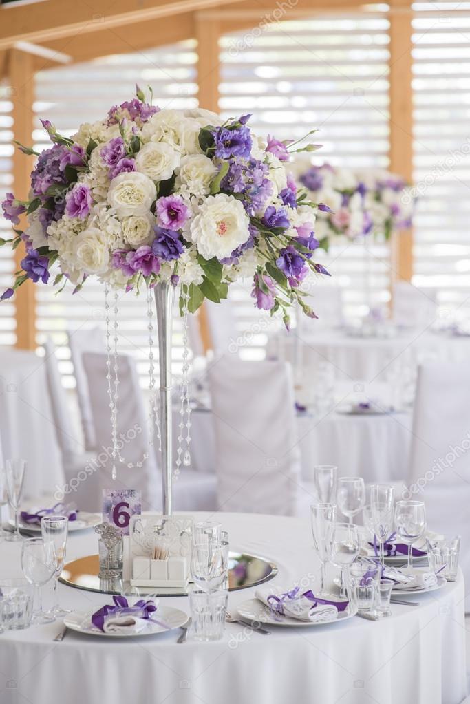 Wedding Decor Violet White Stock Photo Sergmam 124493838