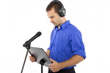Male voice over artist or singer on a microphon