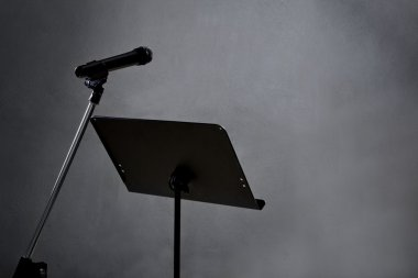 Recording studio with microphone
