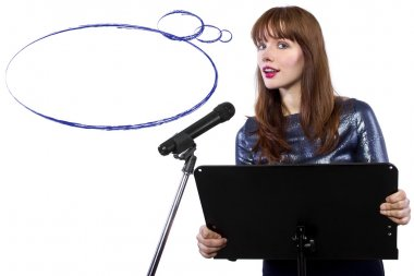 Girl on a podium with speech bubble