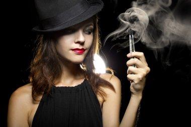 Woman vaping an electronic cigarette