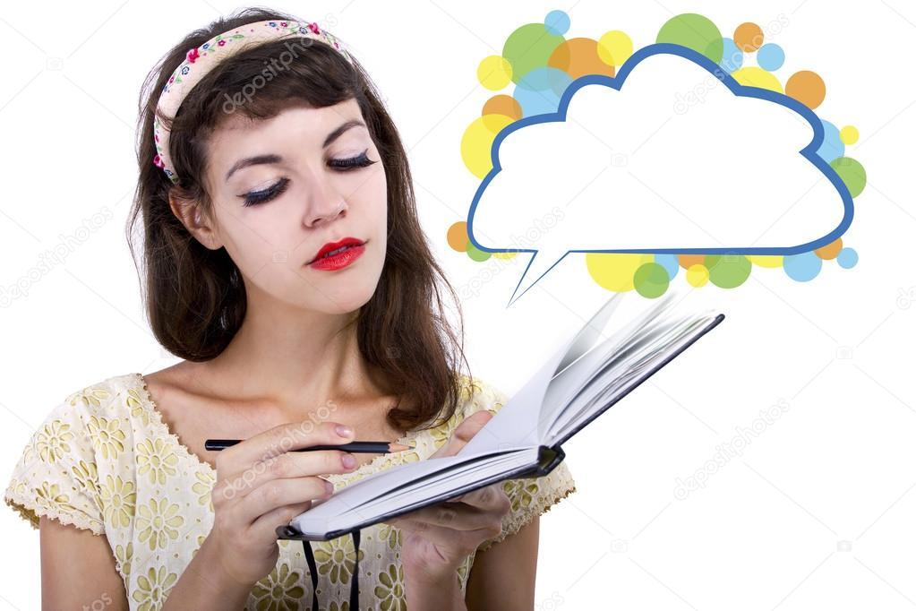 Menina Com Caderno E Lpis Fotografia De Stock