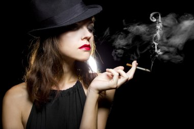 Female vaping an electronic cigarette