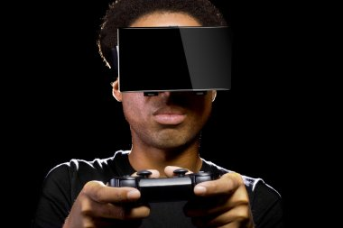 male with video game controller