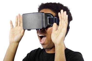 male wearing virtual reality headset