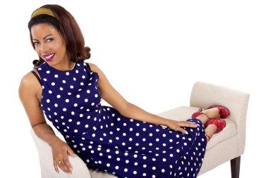 female wearing  polka-dot dress