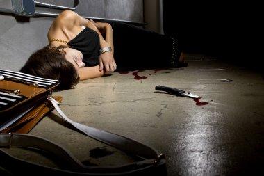 Female murder victim lying