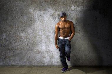 black man with shirtless torso