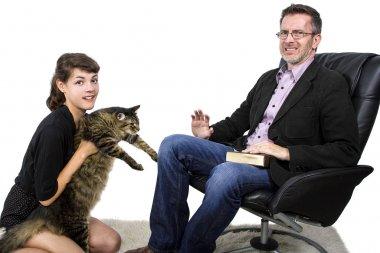 Allergic man dislikes cat