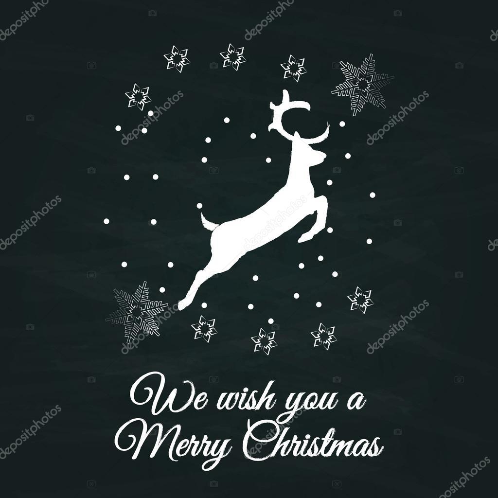 Frohe Weihnachten Zeichen Jahrgang sketch Stil mit Hirsch im Grunge ...