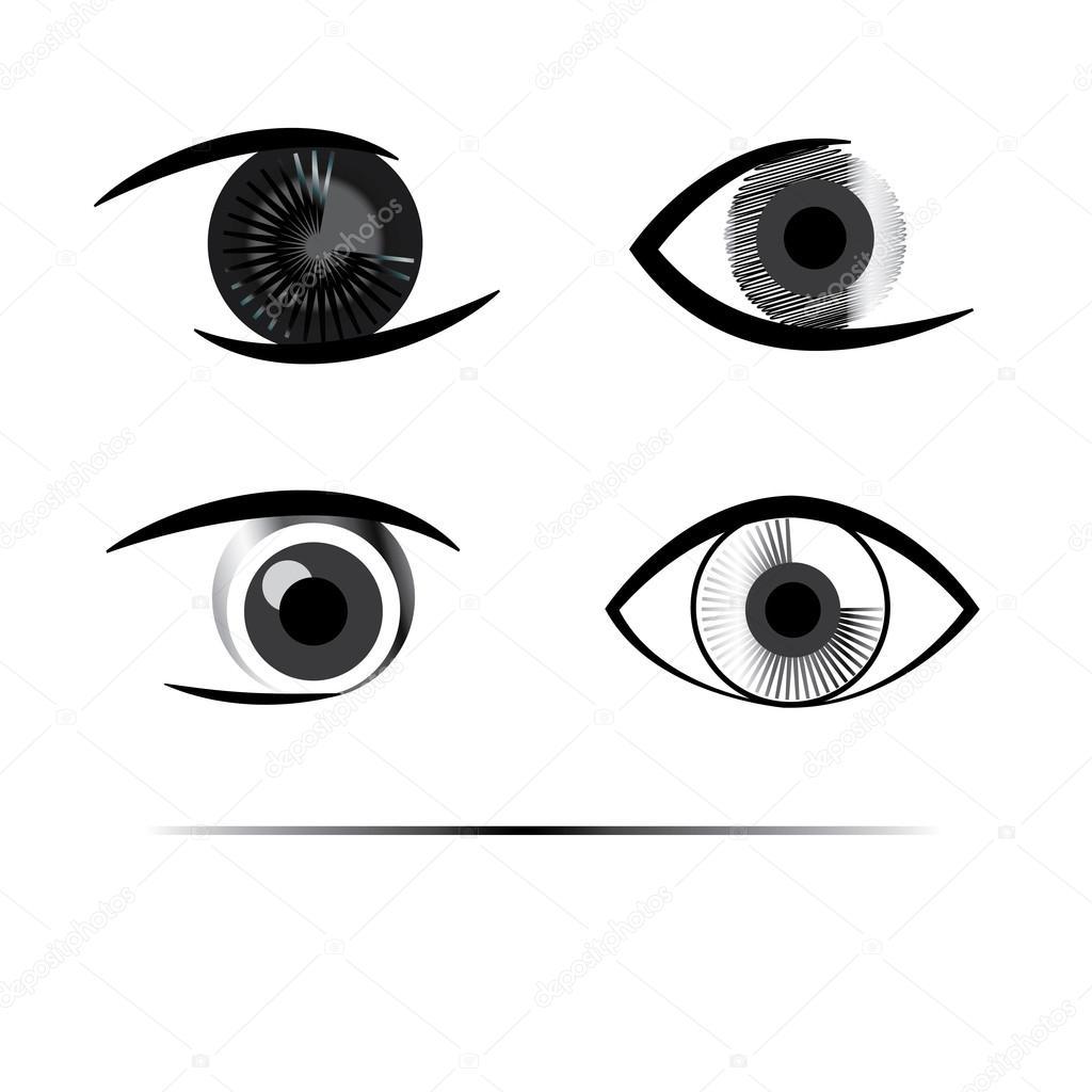 Los ojos humanos creativos en escala de grises — Vector de stock ...