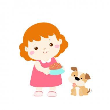 little girl feeding dog cartoon vector
