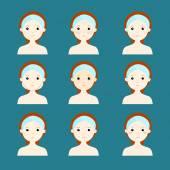 odrůda problém kůže ženy čelí vektor