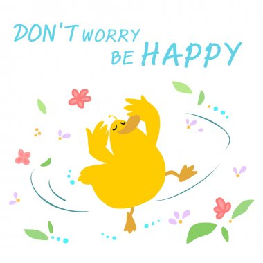 Happy duck dance cartoon vector
