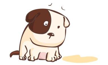 sad dog sitting on the ground vector