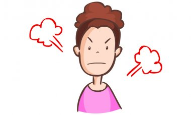 angry woman in pink dress vector