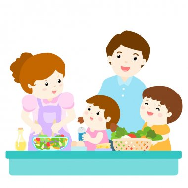 happy family cook healthy food together vector
