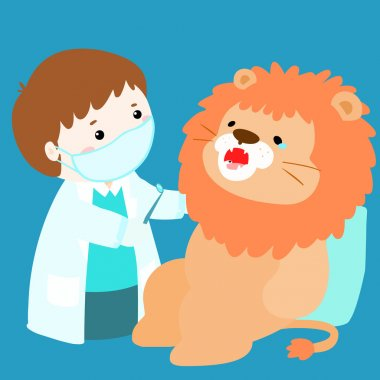 little boy cure doll have tooth decay vector