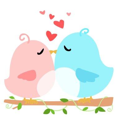 Love bird on branch white background vector