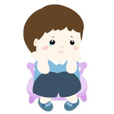 sad little boy on white background vector