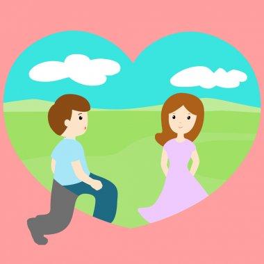 man walk through loveland find woman vector