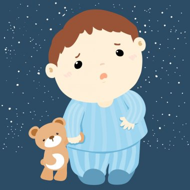 cute boy and his doll sleepless vector
