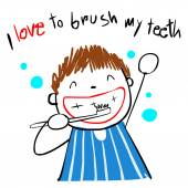Kid love brush teeth vector illustration