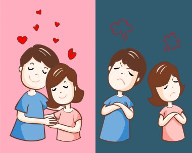 changing couple relationship cartoon vector illustration