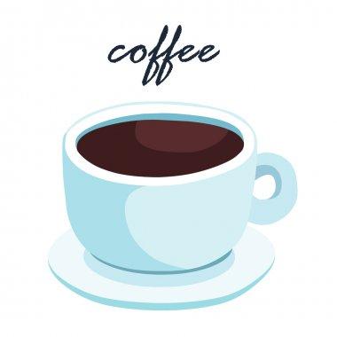 hot aromatic black coffee vector illustration
