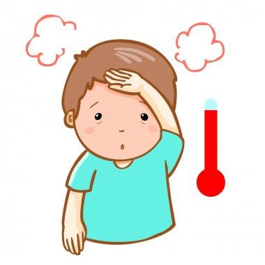 man got fever high temperature cartoon vector